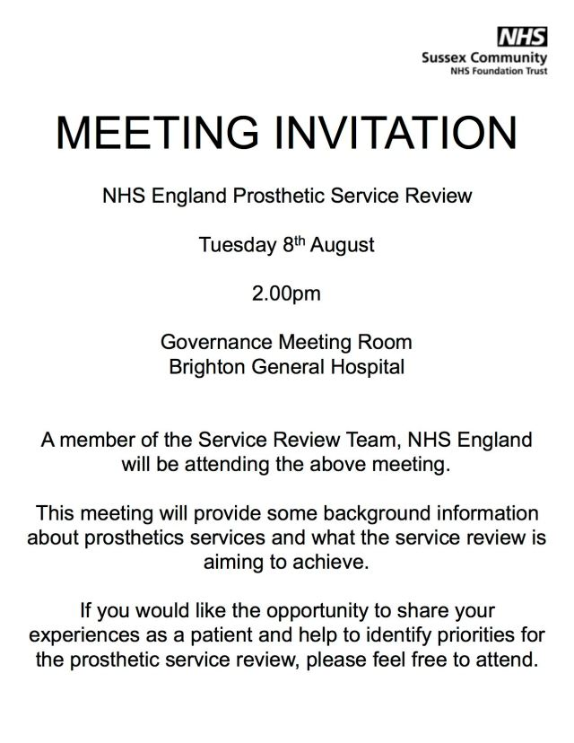 Prosthetic review Brighton MEETING INVITATION