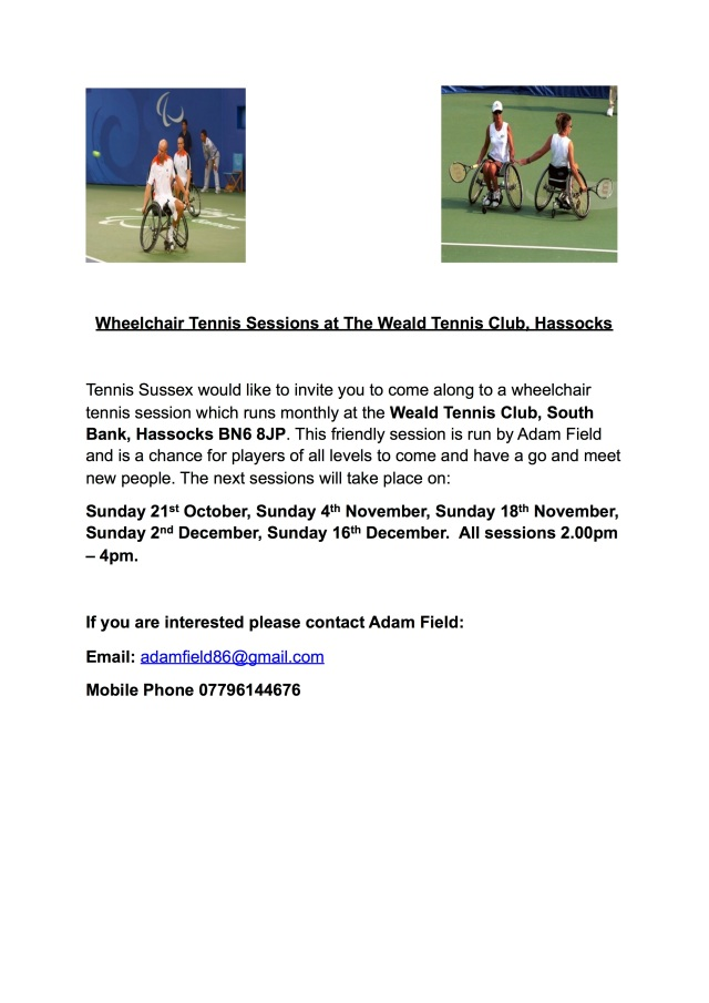 Wheelchair Tennis Sessions Weald Poster